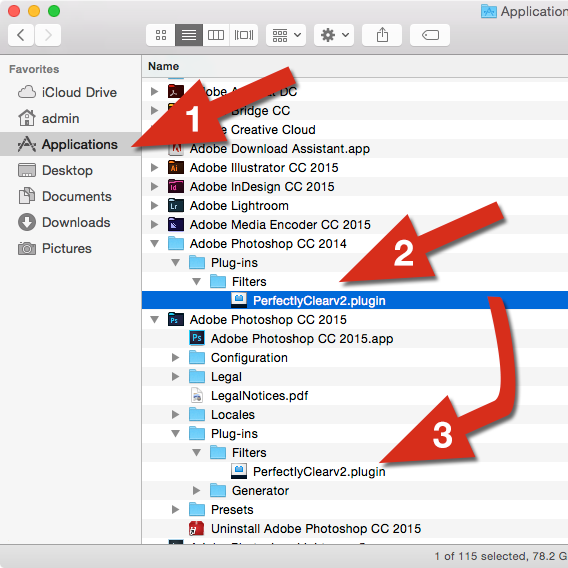 Copy plugins to new PS version on a Mac