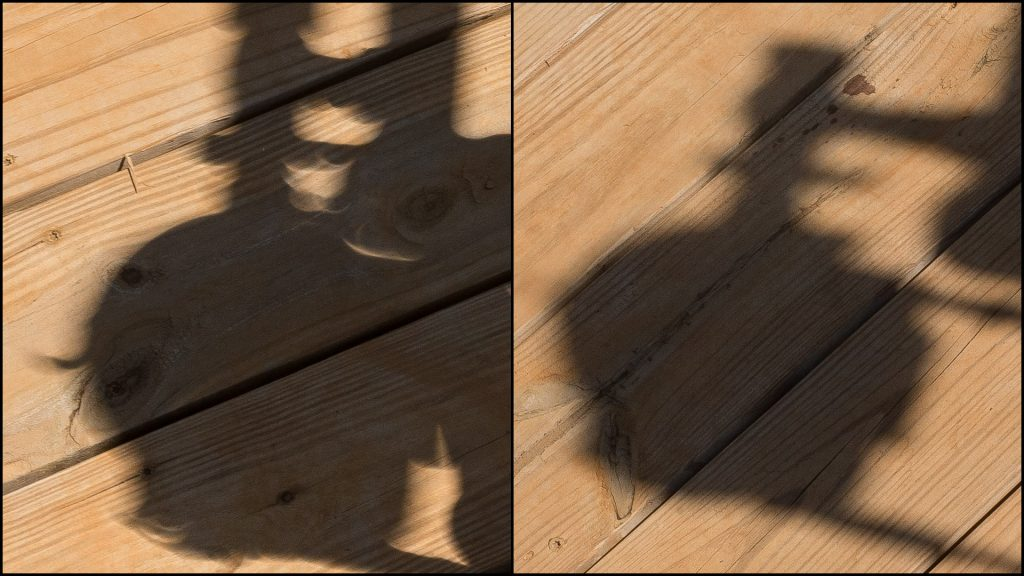 Comparing cast shadows in an eclipse and after it.