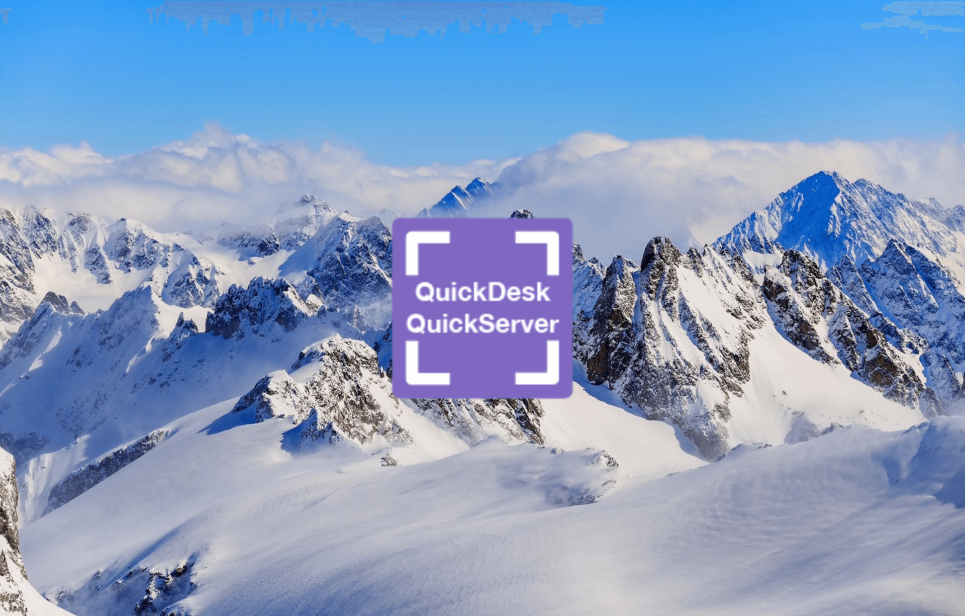 mountains with quickdesk logo